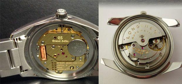 Parte posterior reloj automático y de quarzo