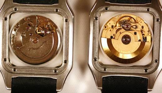 Comparación del interior de un reloj de imitación