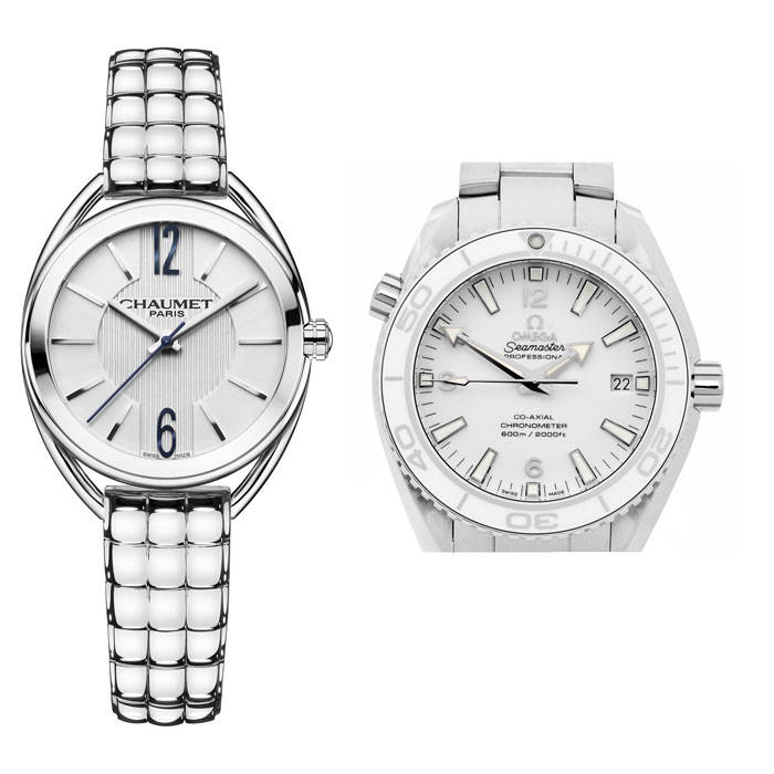 relojes blancos mujer hombre